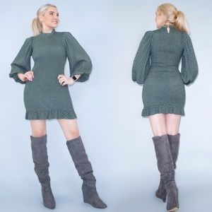 Green Puffy Sleeve Fitted Dress